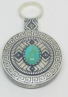 Carol Felley Heavy Sterling Silver Turquoise Cabachon Canteen Spinner Pendant