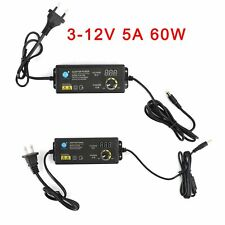 Adjustable DC Power Supply Adapter Charger Variable Voltage 3-12V 5A 60W