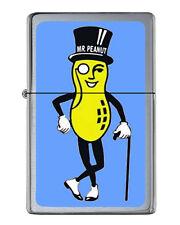 Planters Mr. Peanut Flip Top Lighter Brushed Chrome with Vinyl Image.