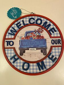 The Pioneer Woman Welcome To Our Home Howdy Gingham Truck Painted Sign NEW