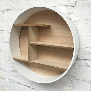 Large Retro White Wooden Round Wall Floating Shelving Storage Shelf Display Unit