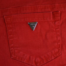 GUESS Women Shorts RED Denim Stretch Classic Flirty Casual Summer Metal Logo 28