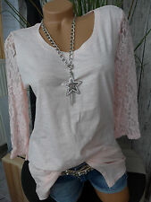 Sheego Shirt Bluse Tunika Gr. 40/42 bis 56/58 mit Spitze (188) NEU