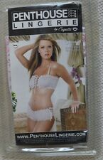 NEW PENTHOUSE 2 PIECE WHITE AND PINK BANDEAU BRA TOP SHORTS KNICKERS BRALETTE M