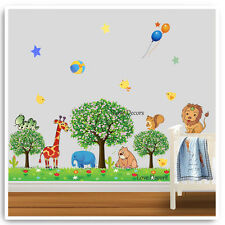 Animal Wall Stickers Jungle Zoo Safari Tree Nursery Baby Kids Room Decals Art