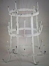 Free Standing White Shabby Chic Scroll Metal 16+ Mug Stand: 25x25x29.5cm