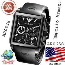 100% Authentic Emporio Armani Chronograph Sport Rubber Black Strap Watch AR0658