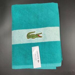 "Lacoste ~ Bath Towel 100% Cotton 30"" x 52"" Green Big Crocodile Logo"