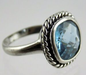 Sterling Silver Checkerboard Cut Blue Topaz Cocktail Ring 925 5.2 Grams Size 6.5