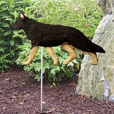 German Shepherd Outdoor Garden Dog Sign Hand Painted Figure Black w/ Tan Points