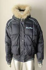 RocaWear Puff Fox Fur Hooded Parka Puffer Jacket Goose Down Blue Jacket Coat L