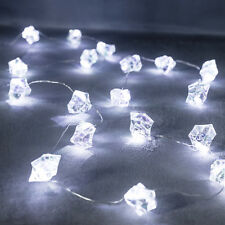 20 Cool White Micro LED Iridescent Ice Cube Battery Operated Fairy String Lights