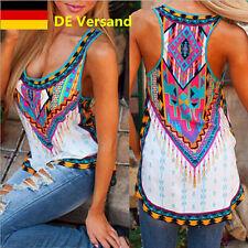 DE Damen Stoffdruck T-Shirt Trägertops Damenmode Tops Mehrfarbig Blusen Tuniken