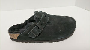 Birkenstock Boston Fur Clogs, Black Suede, Women's 37 EU (US 6) Narrow