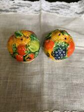 Vintage Ceramic Hand Painted Fruit Salt & Pepper Shakers 1 Plug