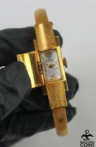 Bucherer Manual 17 Jewels Gold-Toned Hidden Face Women's Bracelet Watch w/Box