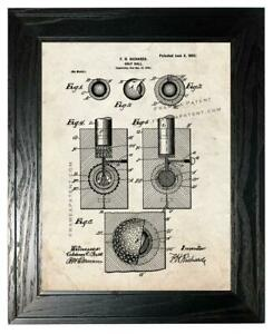 Golf Ball Patent Print Old Look in a Black Pine Frame