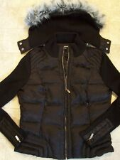 WOMENS BEBE SPORTY BLACK DOWN PUFFER KNIT COAT/ JACKET - REMOVABLE HOOD - L- EUC