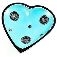 Smolart Hand Carved Soapstone Light Blue Heart Shaped Soap Dish Trinket Bowl