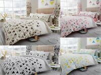 Duvet Quilt Cover Set Geo Triangle Poly Cotton Reversible Bedding All Sizes New