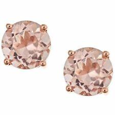4mm  Peach Morganite Round Basket Set Stud Earrings in 14k Rose Gold/Sterling
