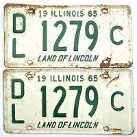 Illinois 1965 Dealer Pair Old License Plate Garage Vtg Man Cave Car Decor Tag C