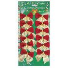 24X Bowknot Xmas Tree Ornament Bow Hanging Decoration Christmas Gift DIY Decor