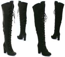 Scarpe da donna spilliamo stivali sopra il ginocchio in camoscio sintetico