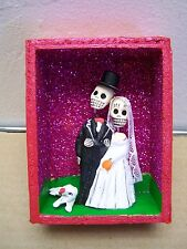 Day of the Dead Wedding Couple in Open-Faced Wood Nicho - Mexico