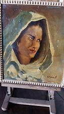 pittura napoletana del  900 olio su compensato m.30x35 volto di donna