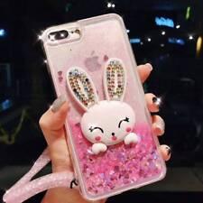 Dynamic Liquid Glitter Quicksand Soft bumper back Phone Case Cover & Lanyard #I