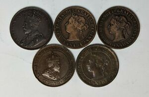 5 Different Dates Canada Large Cents Circ 188209D