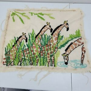 Vintage Completed Finished Crewel Embroidery giraffes 18 × 14