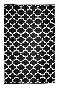 Outdoor Rug | Recycled Plastic Mat | Trellis Design | Tangier Black