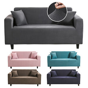 2 Seater, Grey Grid HEYOMART Sofa Cover High Stretch Elastic Fabric 1 2 3 Seater Sofa Slipcover Chair Loveseat Couch Cover Polyester Spandex Furniture Protector Cover with 1 Pillowcase