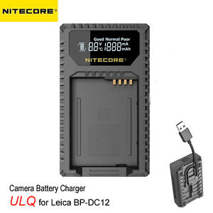 Nitecore ULQ Digital USB Camera Charger for Leica BP-DC12 Batteries Q Series LCD