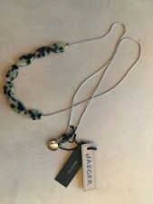 British jewelry designer JAEGER Long Necklace Silver Tone Marble necklace. NEW