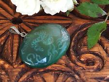 Orient schmuck Grün achat Anhänger edelstein green agate pendant Afghanistan N90