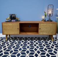 TV Cabinet Mango Wood Brass Entertainment Cupboard Storage Unit Media Stand New