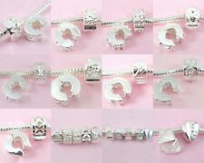 10x Silver Clip Lock Stopper Bead Charm Fit Bracelet T2