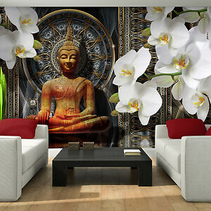 BILD POSTER WANDBILD TAPETEN FOTOTAPETE  BUDDHA  MEDITATION ORCHIDEE  3FX3162P4