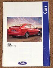 1992 FORD CARS Brochure inc Escort XR3i Cabrio XR4x4 Orion XR2i Scorpio 24V