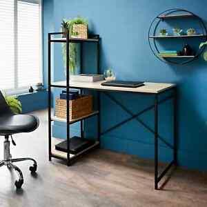 Wooden Computer Desk PC Laptop Table Metal Home Office Study Workstation Shelf