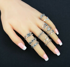 Set of 11 Rings Boho Knuckle Fashion Star Moon Sunflower Thumb Stack Jewelry