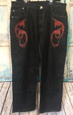 Men's Imperious Delf Trading inc Black Red Embroidered Jeans 38X32