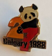 Vintage CALGARY 1988 Winter Olympic Lapel Pin Giant Panda 2 & 7 Global Souvenir