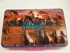 Personalized Kids School Pencil Box Case Horses