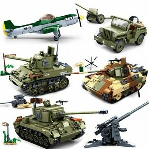 Military Panzer Tank Aircraft Blocks Armored Army Vehicle Model Educational Toys