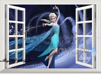 Disney Frozen Elsa Snowflake 3D Window Wall Decals Removable Stickers Kids Decor