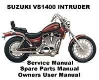 SUZUKI INTRUDER VS 1400 Owner Service Workshop Repair Parts Manual PDF on CD-R